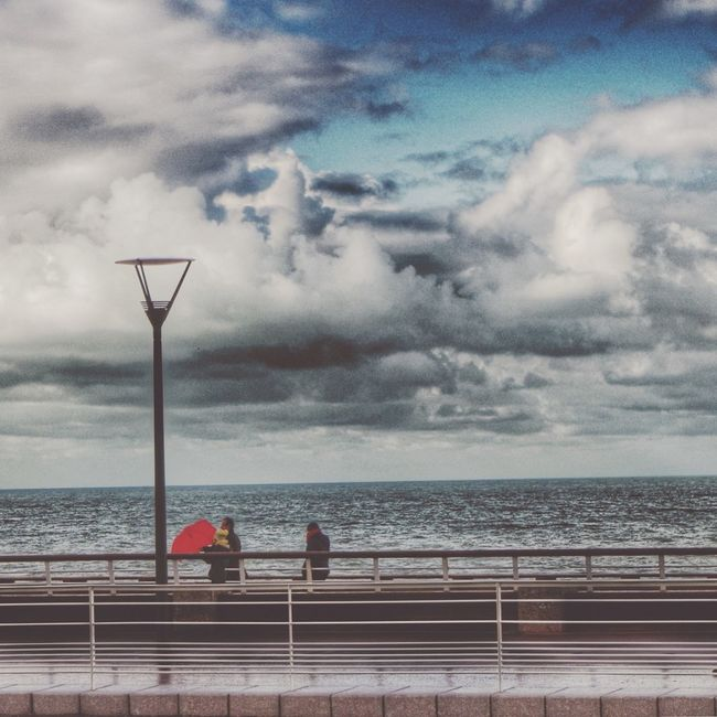 Red Umbrella Clouds And Sky Seaside Normandie