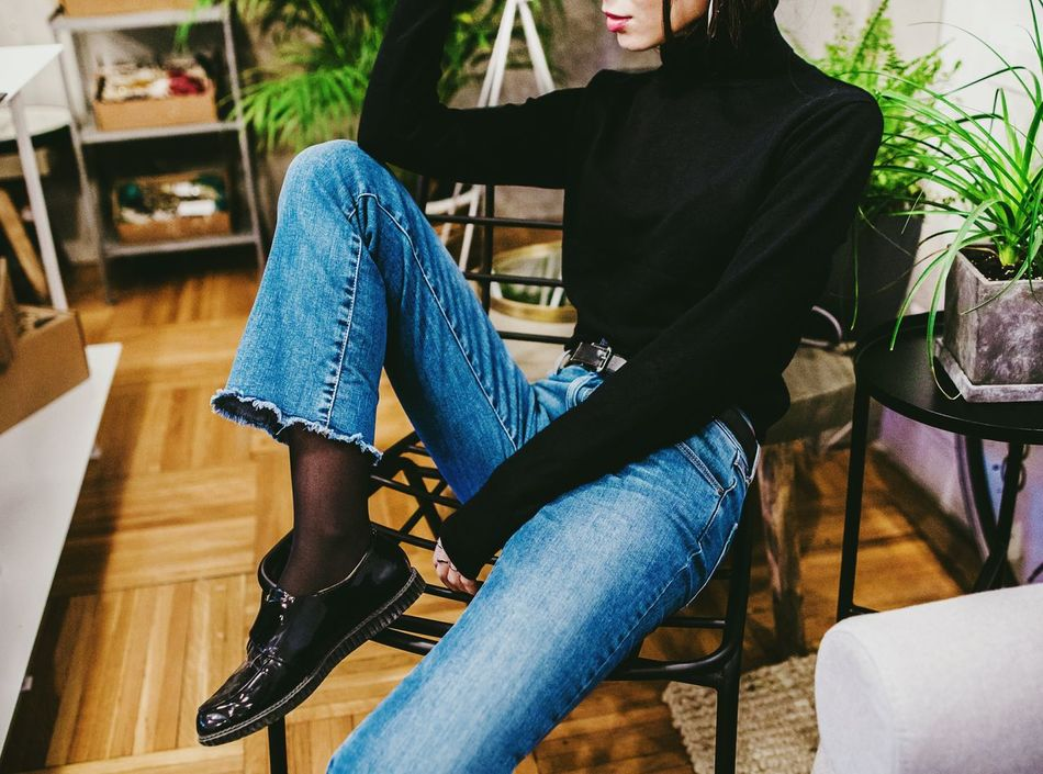 Sitting One Person One Woman Only Casual Clothing Leisure Activity Chair Human Leg Lifestyles Relaxation Human Body Part Day People Real People Women Bucharest Urban City Fashionblogger Fashion&love&beauty Fashion Photography Shoe Young Women Denim Fashion EyeEmNewHere