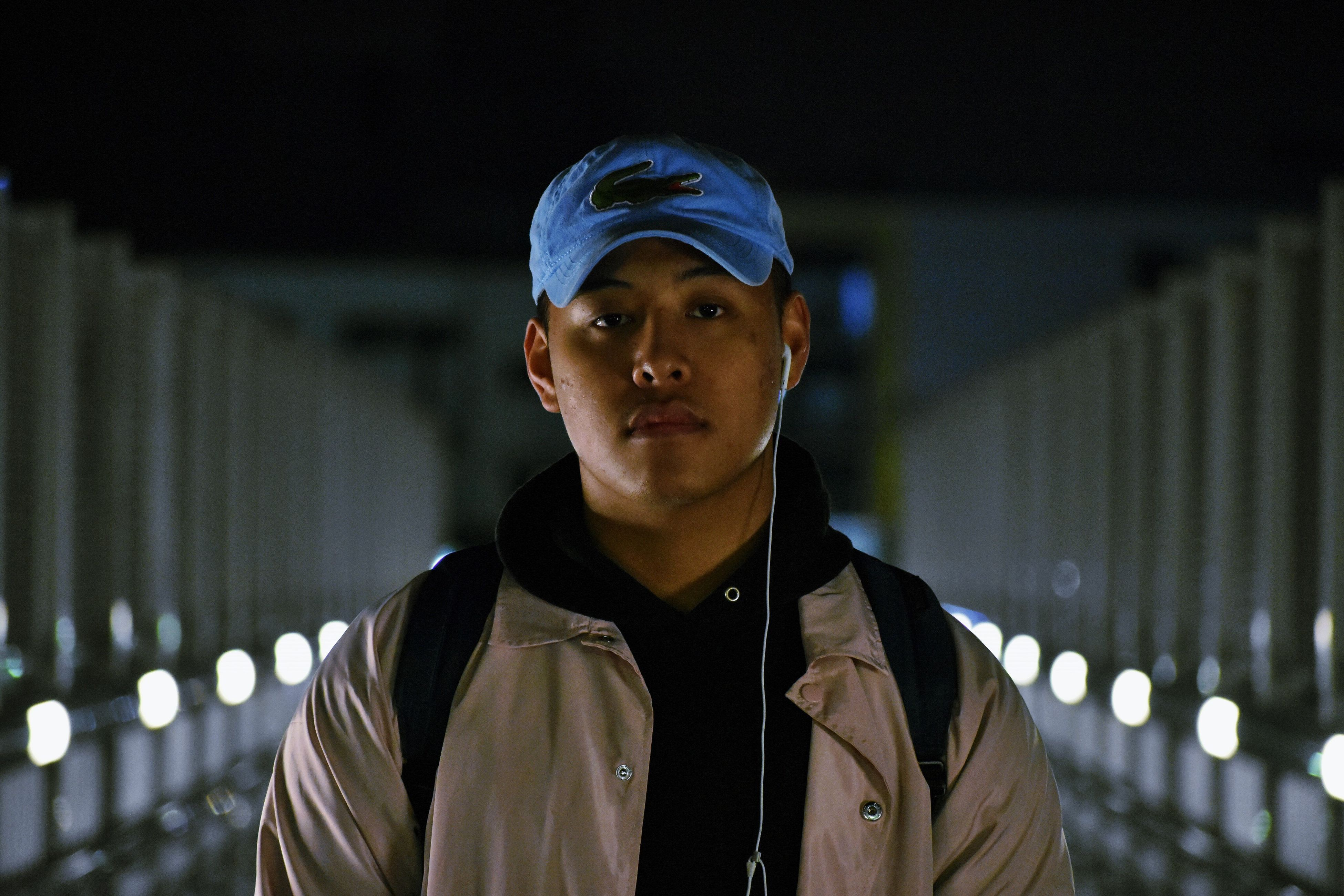 looking at camera, only men, adults only, one person, one man only, portrait, young adult, one young man only, front view, adult, people, men, baseball cap, night, army, outdoors, close-up, army soldier