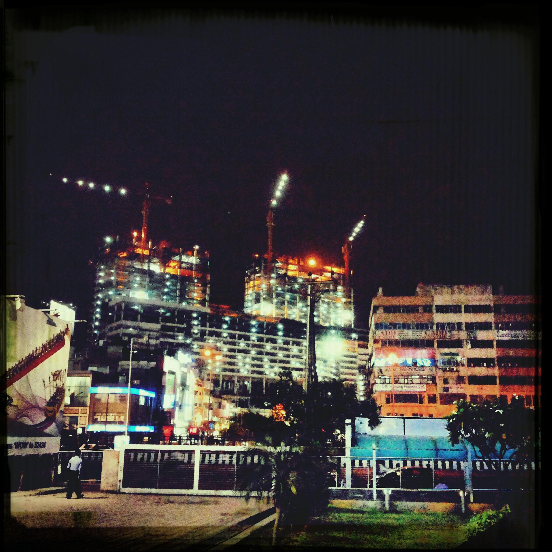 The building still under construction opposite G.I.P.! First Eyeem Photo Building Construction Lights