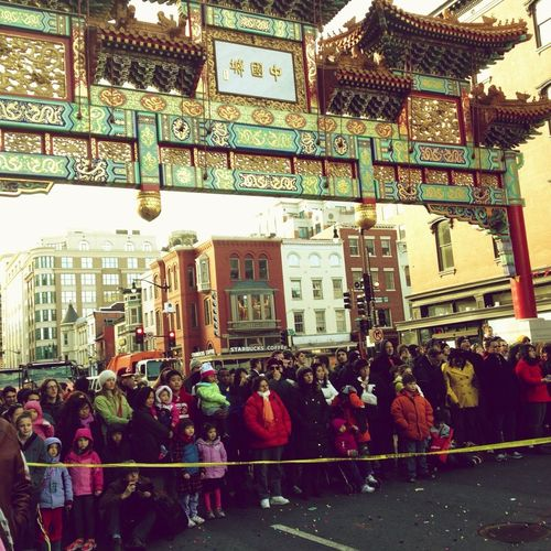 Crowd waiting for the firecracker dance to begin, Chinese New Year D.C.