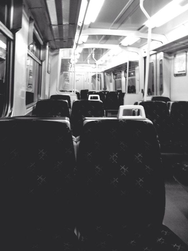 Blackandwhite Public Transportation Commuting Light And Shadow