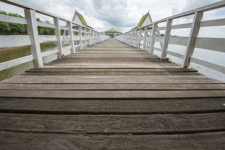 Bueng Si Fai, Phichit, Thailand Bueng Si Fai Pier Thailand Bridge Bridge - Man Made Structure Cloud - Sky Day Footbridge Nature No People Outdoors Phichit Pier Railing Sky The Way Forward Water Wood - Material Wood Paneling
