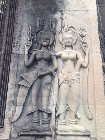2 Women Architecture Bas Relief Breakfast Cambodia Close-up Cultural Cultures Dance Day Eastern Eastern Europe Fine Art Photography First Eyeem Photo Green Color Greyscale Harem Human Representation Sculpture Sculptures Sexygirl Woman Women