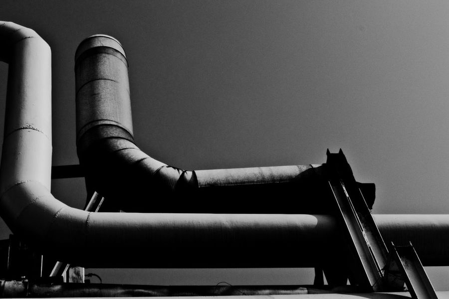 Batory Steelworks / Huta Batory, Chorzów, Poland Architecture Black And White Building Built Structure Clear Sky Construction Day Geometry Geometry Shapes Industrial Industry Ironwork  Pipe Pipe - Tube Pipeline Shape Shapes Steelwork Structure TakeoverContrast Monochrome Photography