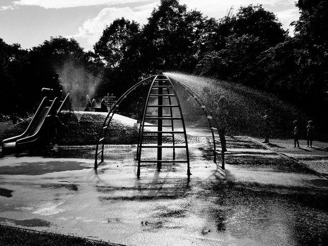 München Blackandwhite Playground Spielplatz Light And Shadow Park At The Park Water Water Slides Urban Playground