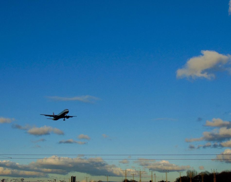 Areoplane Beauty In Nature Blue Blue Wave Cloud Cloud - Sky Clouds And Sky Coming Into Land Day Dusk Dusk Colours Flying Journey Low Angle View Mid-air Mode Of Transport Nature No People Outdoors Plane Scenics Sky Sky And Clouds Sky_collection Tranquility