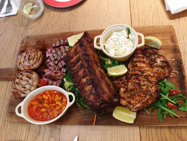 For meat lovers German Sausage Steaks Chickens Ribs Salads Meat! Meat! Meat!