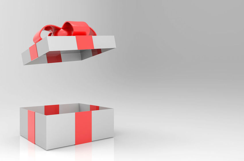 A opened gray gift or present box with red ribbon on gray copy space background Box Christmas Greeting Red Xmas Arrangement Balance Birthday Copy Space Gift Gray Gray Background Object Open Package Present Red Ribbon - Sewing Item Studio Shot White Background