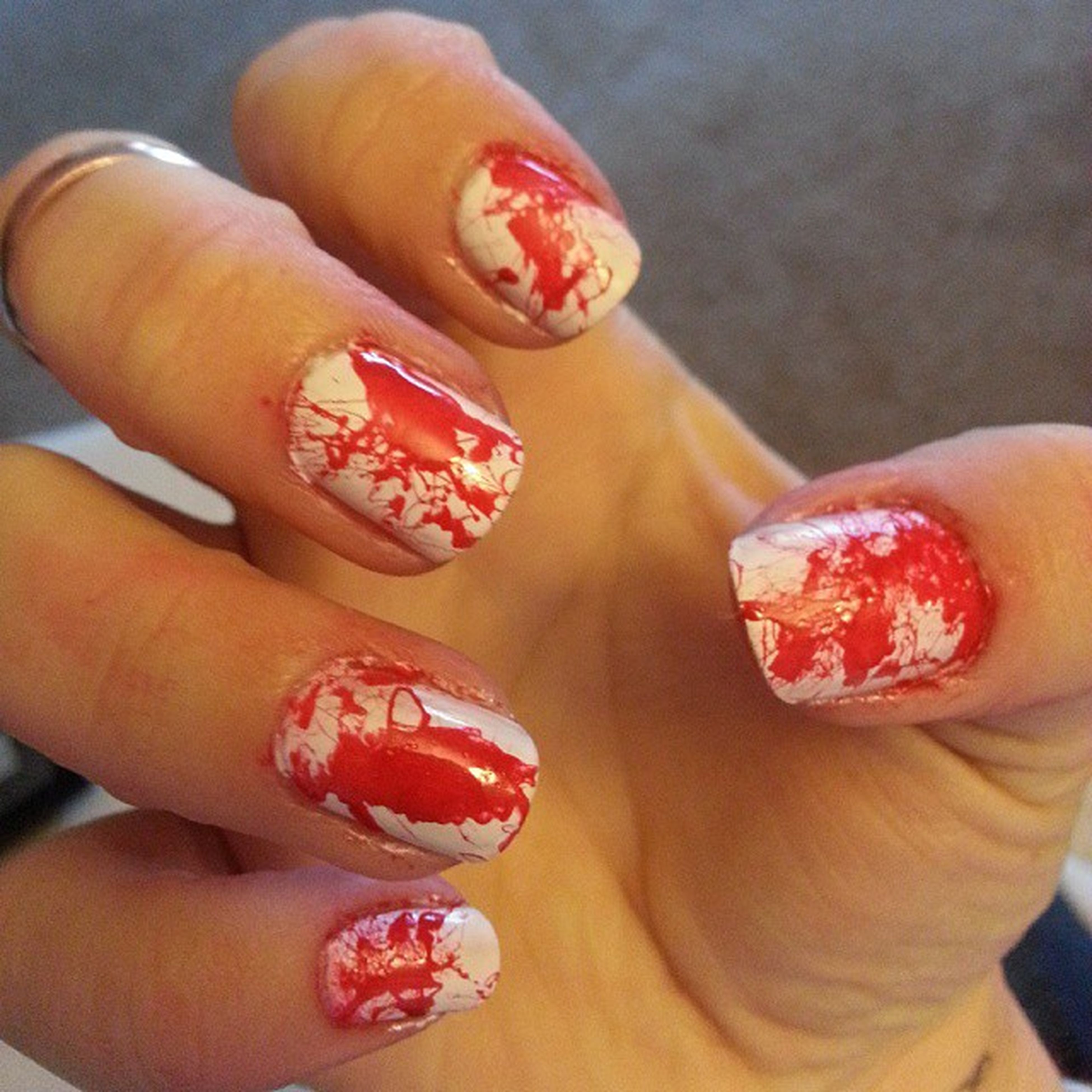 Blood spatter for Halloween. Juleptrickortreat Nails Nail Art My Nails