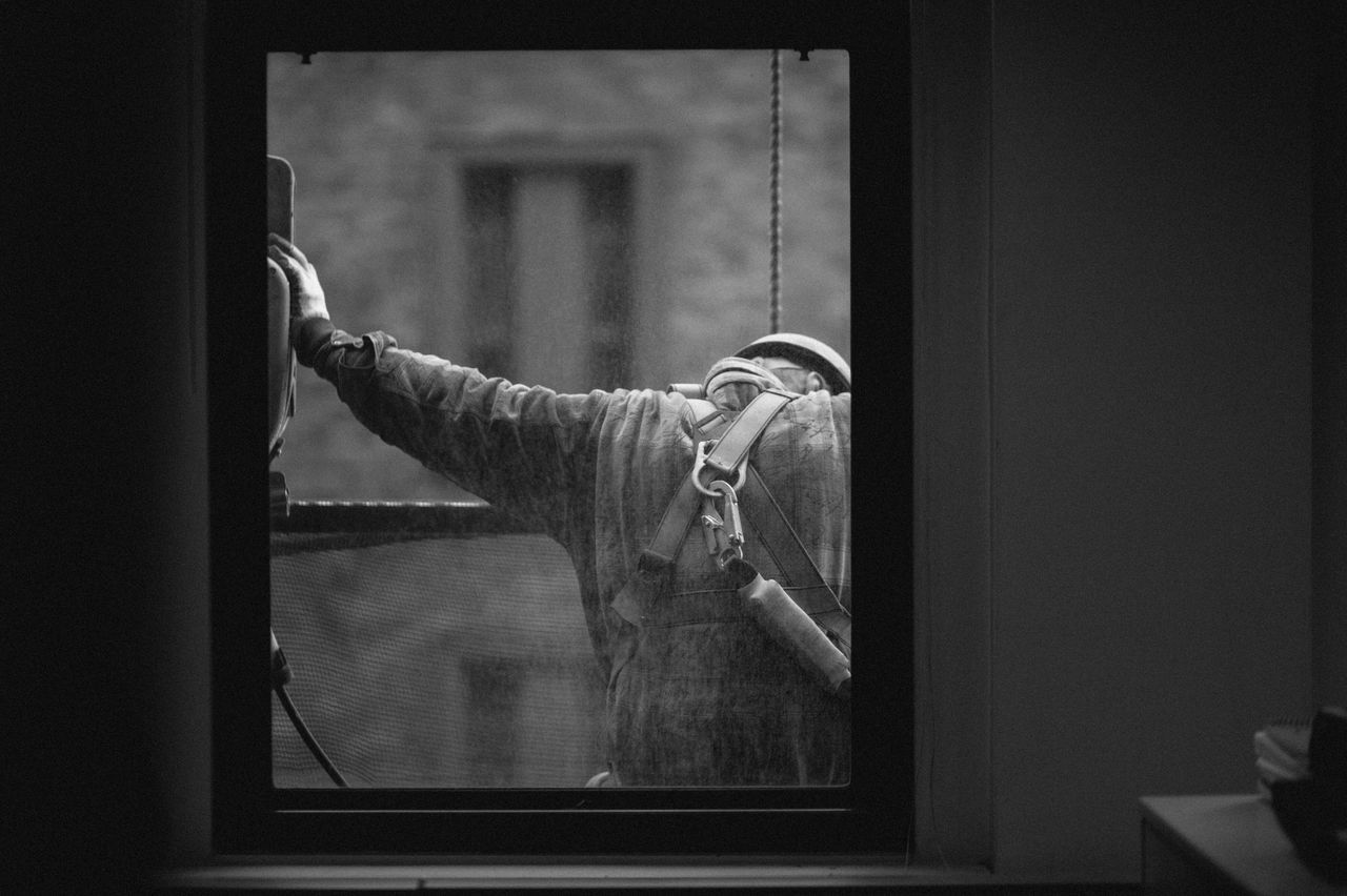Window Noface Construction Classic Blackandwhite Black And White Hardhat  Blue Collar Man Facing Away Working Hard Work