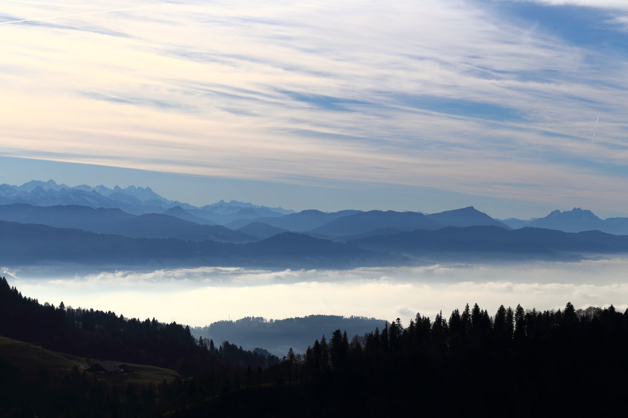 Alpine panorama, including Swiss Rigi. Alps Atmospheric Mood Beauty In Nature Blue Cirrostratus Clouds Eye4photography  EyeEm Best Shots EyeEm Gallery EyeEm Nature Lover Fog Forest Inversion Landscape Looking Down Meditative Mountain Range Nature Panorama Rigi Sky Smog Switzerland Tranquility Zürcher Oberland