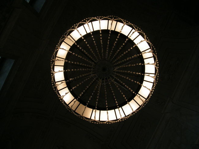 Ceiling Chandelier Indoors  Light And Shadow Low Angle View Museum No People Ring Of Light