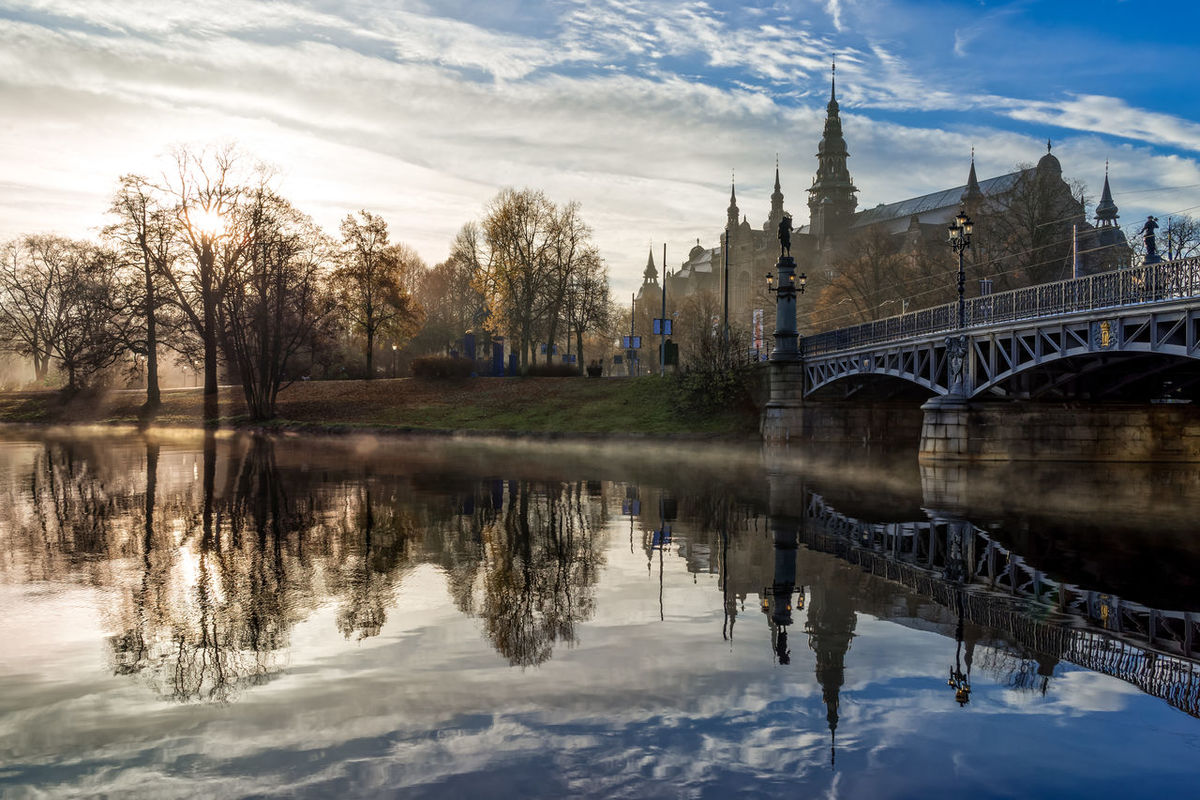Fog formed at the Djurgarden Bridge due to the change of seasons from autumn to winter. One of the most beautiful moment during the year in Sweden. Architecture Autumn Bridge Building Djurgården Europe Go Island Nordic Countries Nordic Museum Park Reflection Scandinavia Season  Sky Stockholm Sunrise Sweden Water Winter
