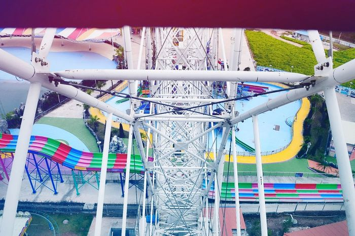 Multi Colored Fun No People Amusement Park Rollercoaster Outdoors Day Sky Water Slide Water Park 摩天轮