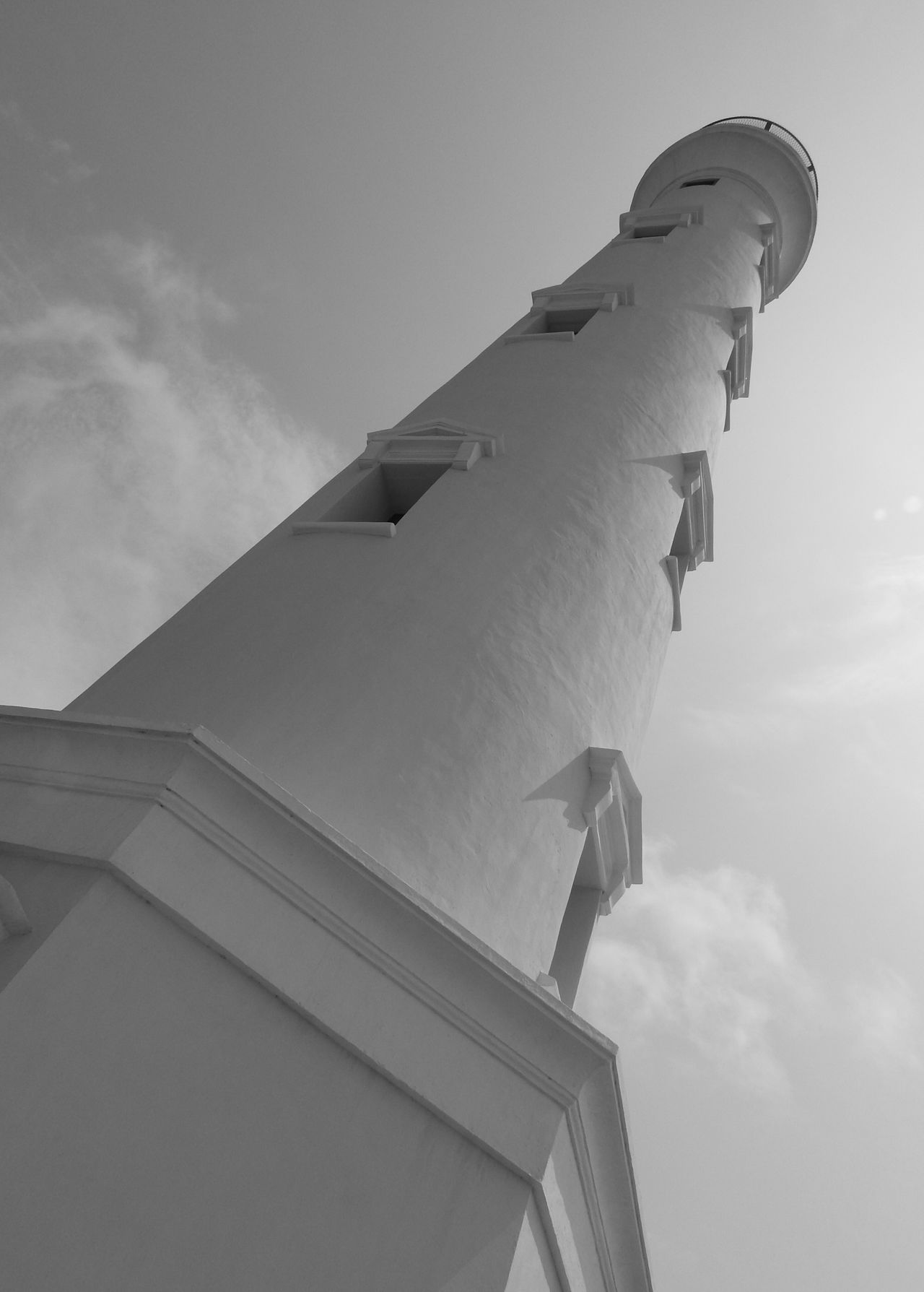 Architecture Built Structure California Lighthouse Sky And Clouds Aruba Travel Destinations Low Angle View Black And White Photography