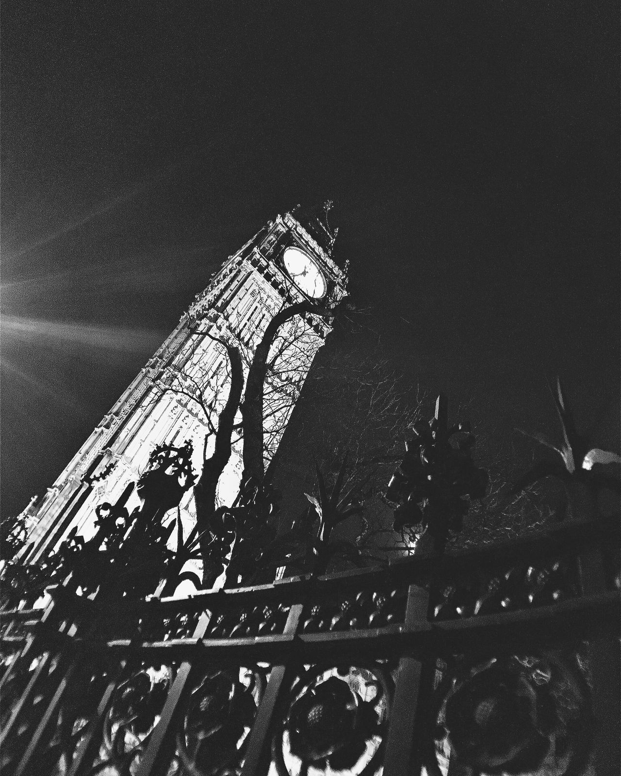 Architecture Big Ben Built Structure Clock Clock Tower Fence London Low Angle View Night No People Outdoors Parliament Sky Structure Time Tree Westminster