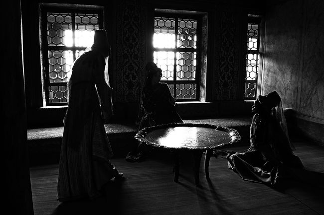 Domestic Life Flooring Harem Historical Building Indoors  Light And Shadow Palace Place Setting Room Sitting Sultan Sultanahmet Table Three People Topkapi Palace Window