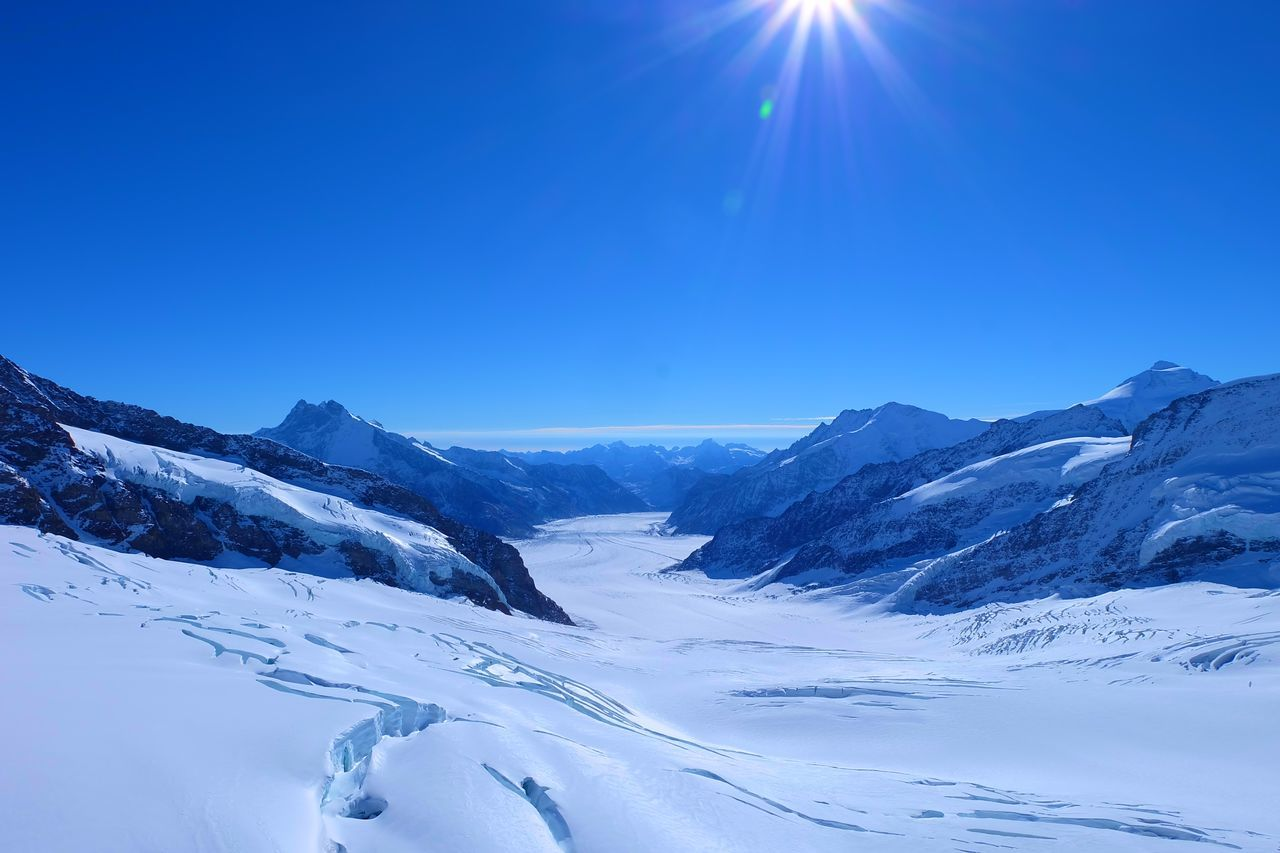 Jungfrau Mountain Outdoors Scenics Sky Snow Sunlight Switzerland Top Of Europe