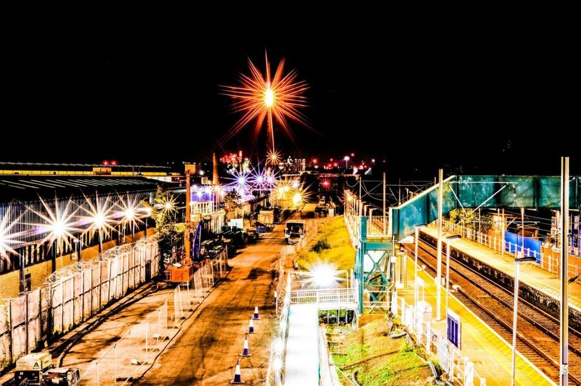 The lights fantastic! Night Illuminated High Angle View Long Exposure Outdoors Sky Road City Station Platform Rail Train Station Trains Landscape Cityscape Lightburst Details Tottenham  Northumberlandpark View From Above Looking Down Factory Building Undeground