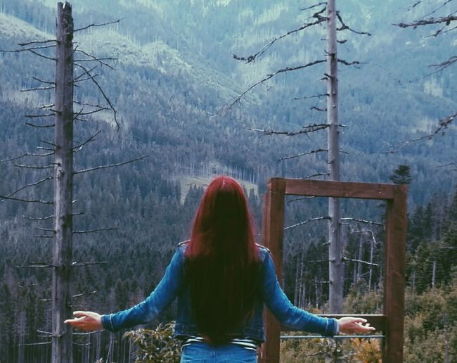 Long Hair Tree Mountain Beauty In Nature Person Nature Getting Away From It All Outdoors