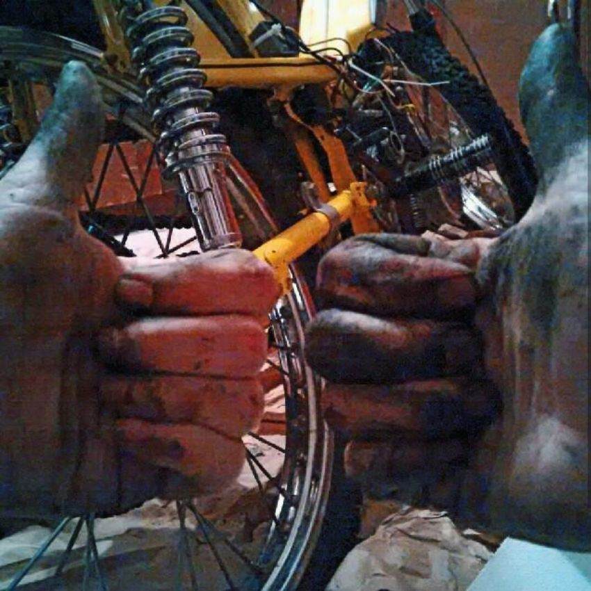 My hands look like this so my moped can look like that. Motobecane Moped Yellow Motorbike 2T Dirty Shiny Vintage