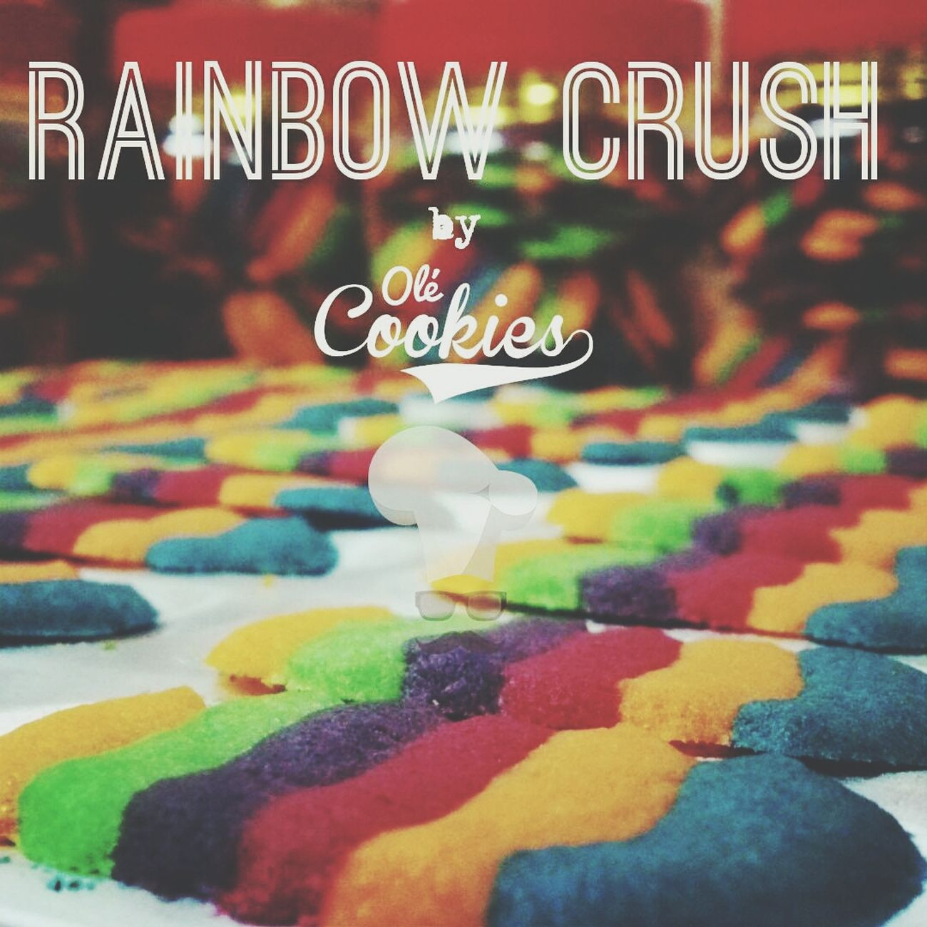 Rainbow Crush by Olé Cookies ● homemade cookies from east made by moustache chef ● eat relax enjoy ● check out our facebook and instagram @ole_cookies for more details Homemade Cookies Cookies