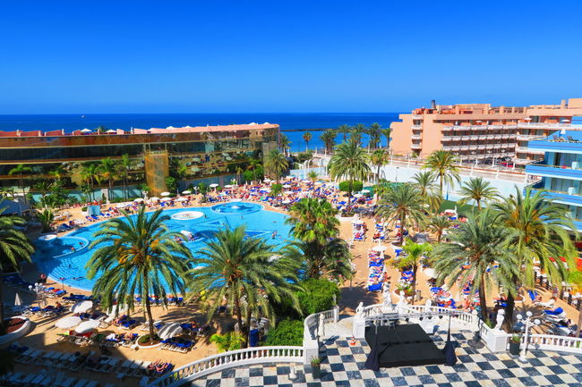 Blue Holiday Hotel Mediterraneanhotel Nature Outdoors Palm Trees PlayadeLasAmerica Roomview Sea Summer Sunny Swimming Pool Tenerife Tourism Tourist Resort Travel Destinations Vacation View From The Window... Water