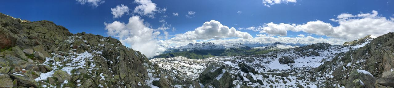 Panorama Panoramic Alps Beauty In Nature Cloud - Sky Day French Alps Landscape Mountain Nature No People Outdoors Scenics Sky Snow