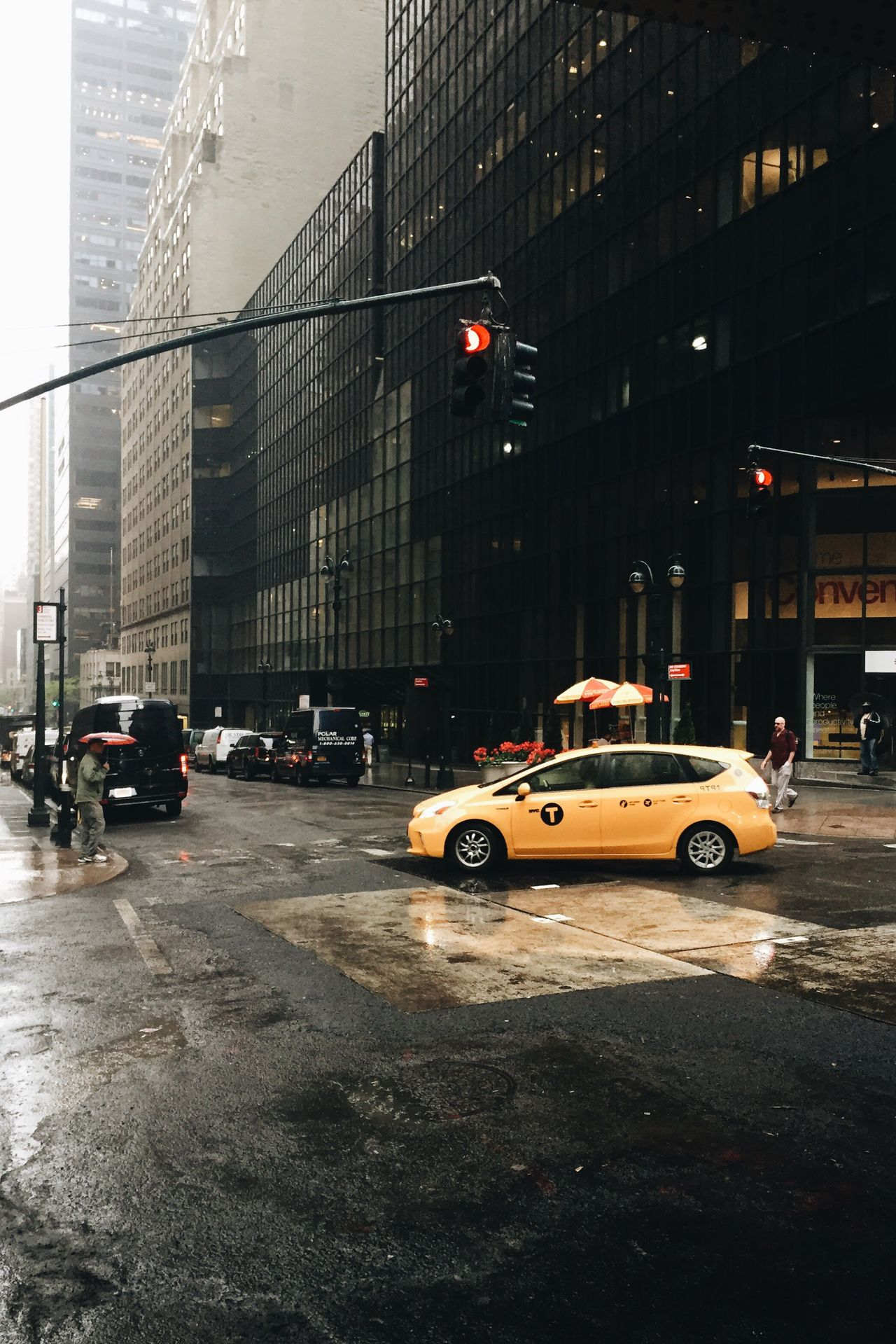 NYC moodyness. Cityscapes Street Life Streetview Mood Mood Captures Colorsplash Yellow Cabs Rainy Days Urban Scene Urban Landscape Urbanexploration Big City Life Travel Destinations Tall Buildings