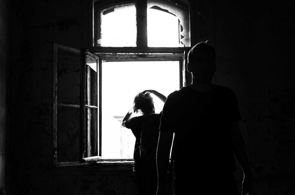 Indoors  Window Rear View Casual Clothing Darkroom Day Solitude EyeEm Factory Adventure Candid Blackandwhite Streetphotography