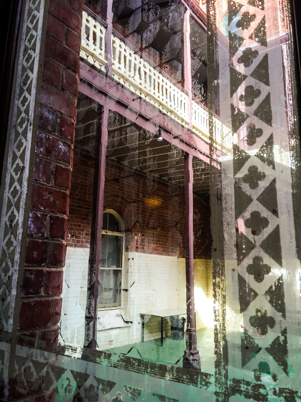 Etched Window Etched Glass Window Design Pattern View Through The Window Ornate Building Detail Architecture Courtyard  View Through Interior Design Craftsmanship  Old Old Buildings Old-fashioned Style Unique Etched Glass Faint Worn Balcony View Brick Brick Wall