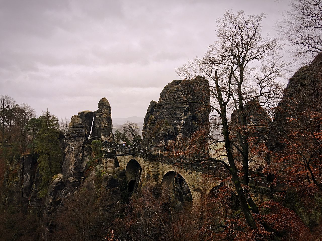 ShotOnIphone IPhoneography Shotoniphone6splus EyeEm Bastei Basteibrücke Nature Elbe Travel Destinations Travel Wanderlust Built Structure Ancient Geology Sandstone Mountains History Trees Winter Fall Orange Cretaceous
