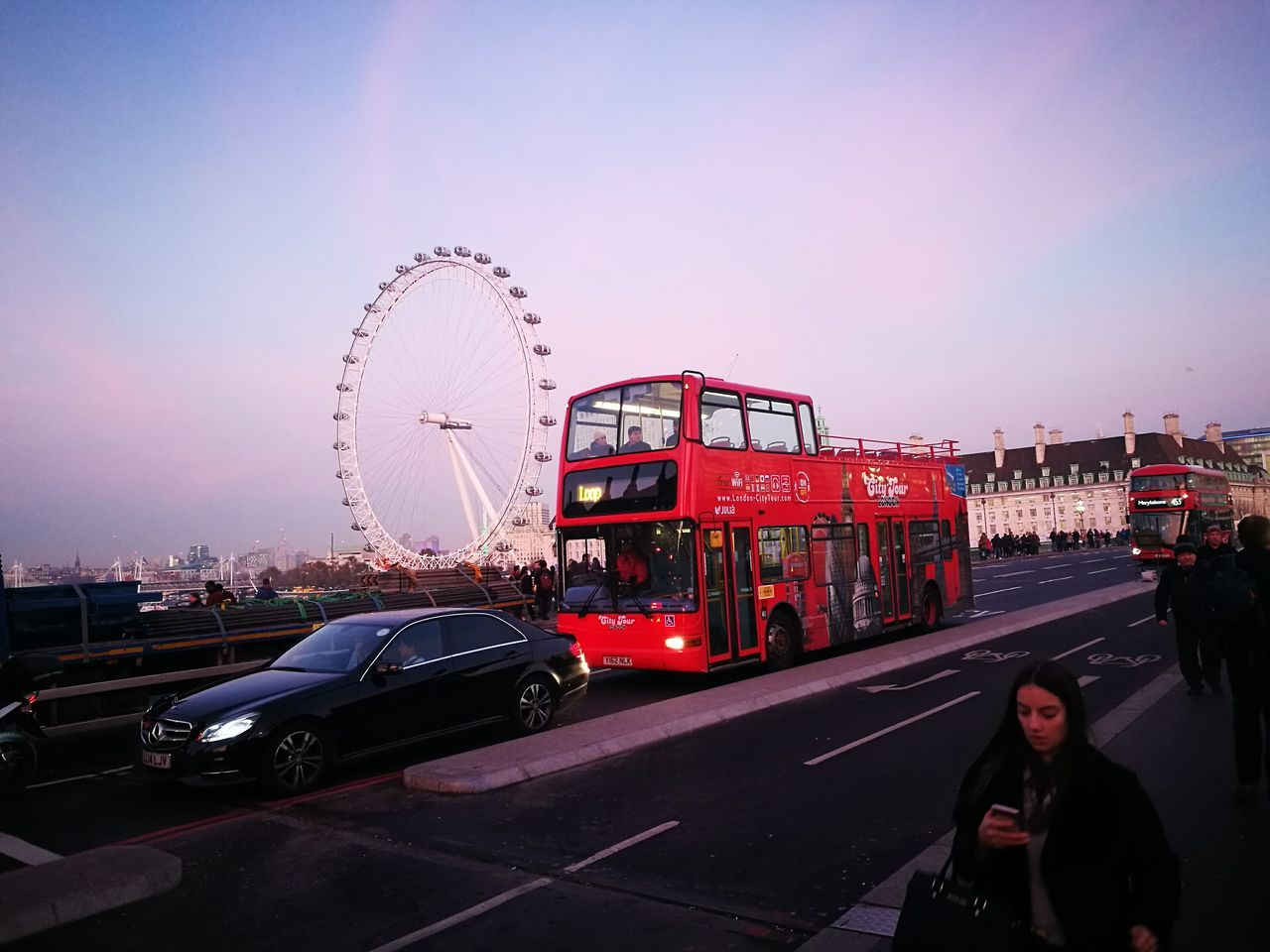 London London Bus Ferris Wheel Car Cultures Outdoors People London Eye Architecture