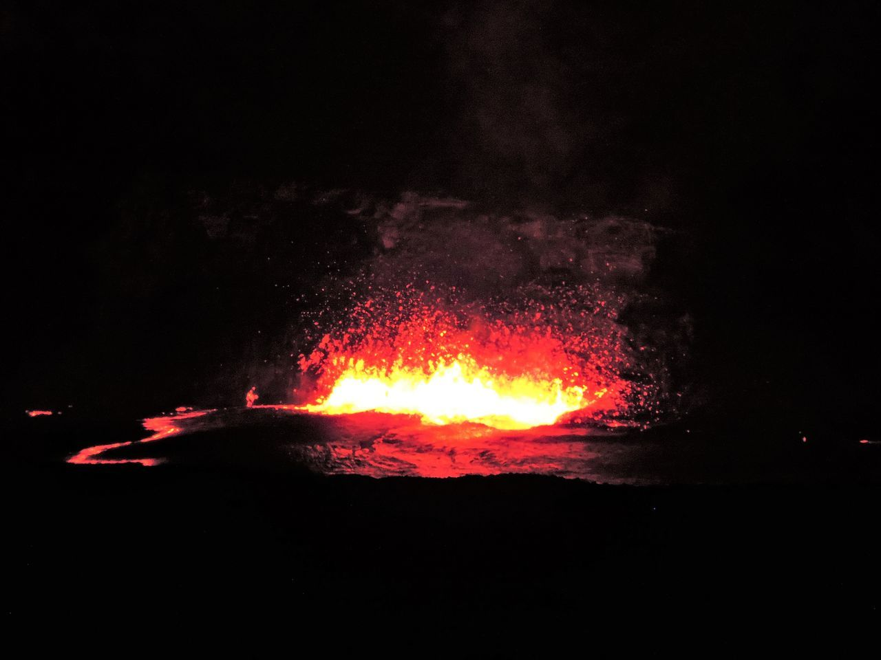night, heat - temperature, glowing, outdoors, lava, burning, flame, no people, molten, nature, bonfire, sky