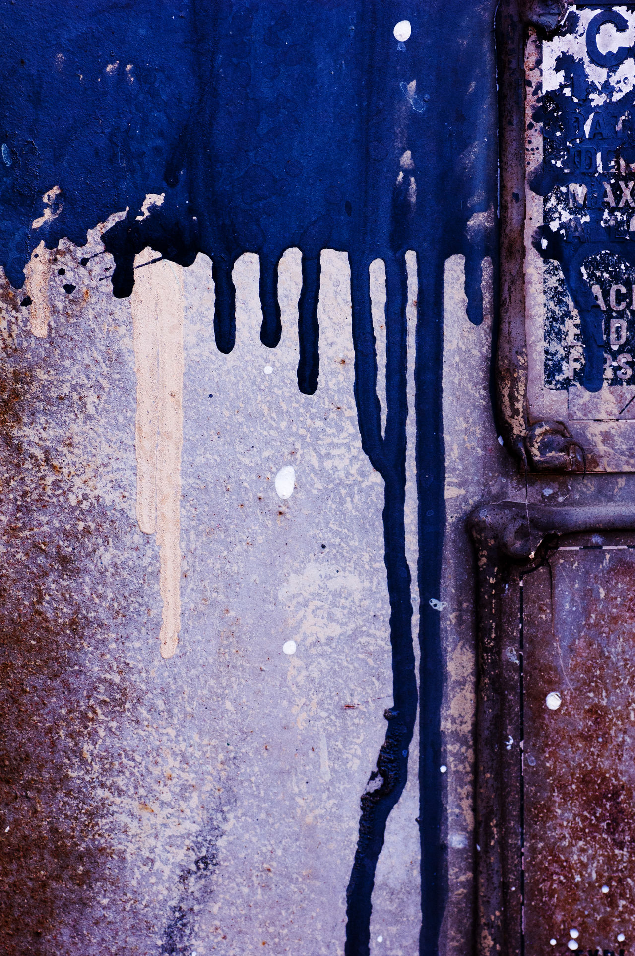 Urban Art #5 Abstract Beige Blue Color Blue Paint Close-up Colorful Colors And Patterns Day Dots Full Frame Harbor Layers Layers And Colors Layers And Textures Metal Outdoors Paint Painted Runny Paint Rusty Rustygoodness Splatter Paint Splattered Splatters Weathered