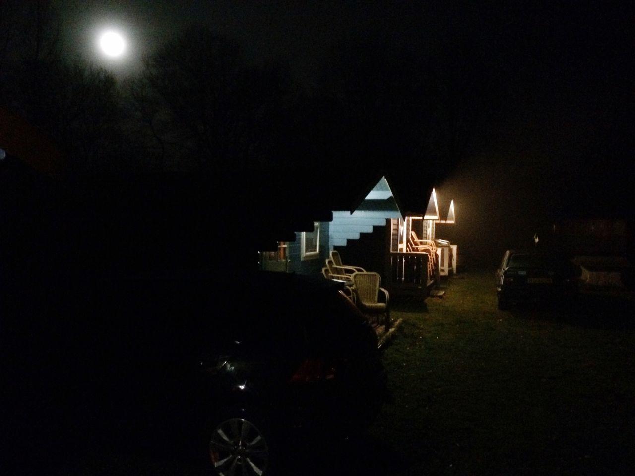 Our cabins under the moonlight. Hilversum Hurricanes Baseball Team Teamuitje2016 Cabin Moon Moonlight IPhoneography Night Nightphotography
