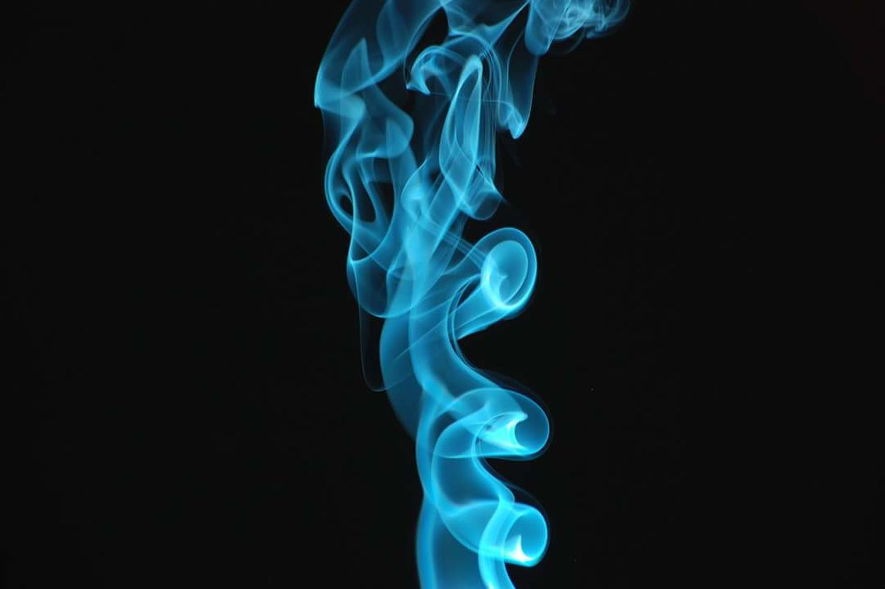 smoke - physical structure, abstract, pattern, swirl, burning, black background, motion, blue, no people, studio shot, black color, close-up