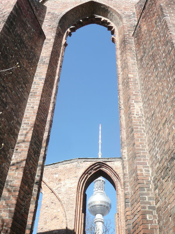 Ancient & Modern Architecture Arch Architecture BG Clear Sky EyeEm Selects Gothic Architecture Gothic Style History In Berlin Germany Low Angle View Medieval Church Ruins No People Red Brick Gothic Building TelecommunicationTower Window