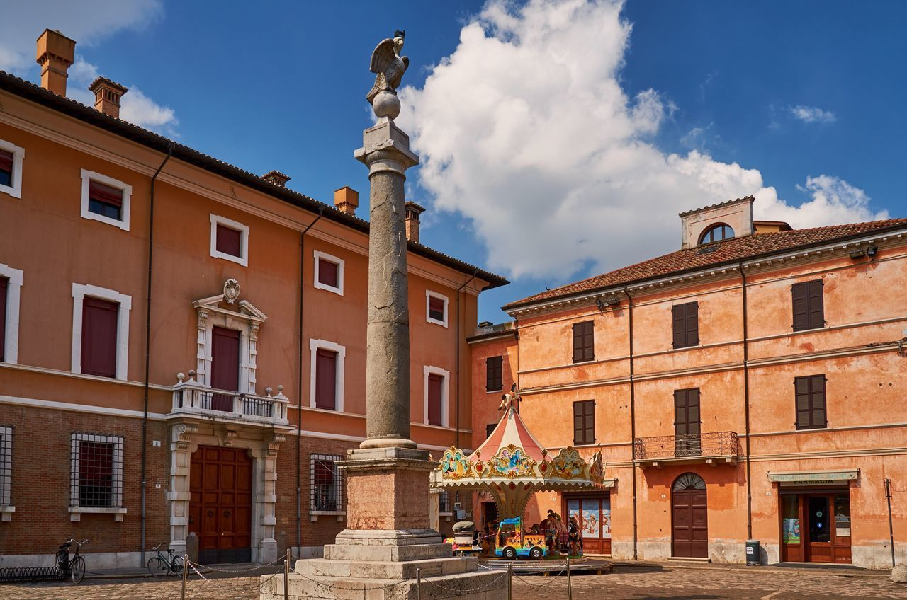 Ravenna Ravenna Italy Piazza Architecture Buildings Historic Historical Building Blue Sky Urban City No People Building Exterior Statue Sculpture Outdoors Day Column Monument Façade