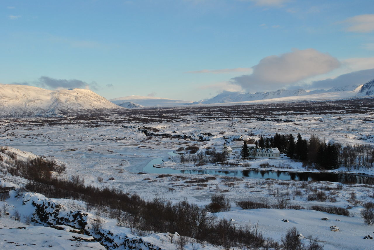 Thingvellir National Park Beauty In Nature Church Cold Temperature Day Iceland Lake Landscape Mountain Nature No People Outdoors River Scenics Sky Snow Thingvellir National Park Tranquil Scene Tranquility Travel Tree Village Weather Winter þingvellir
