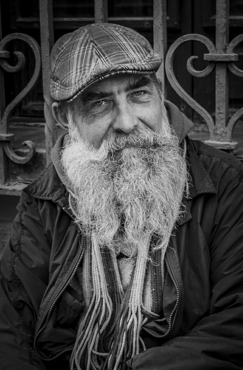 senior adult, portrait, beard, looking at camera, senior men, real people, one person, lifestyles, one senior man only, mustache, outdoors, smiling, happiness, men, only men, day, one man only, close-up, adult, adults only, people