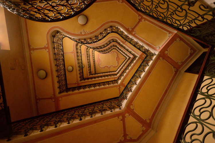 Architecture Built Structure Decoration Indoors  Low Angle View No People Ornate Staircase Staircase Vertigo Staircases Stairs