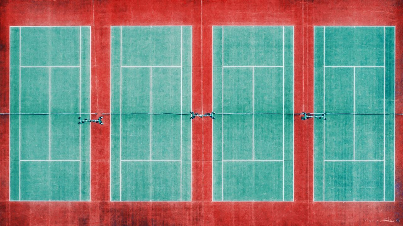Symmetry on the Tennis Court Red no people pattern Green color backgrounds day outdoors Architecture aerial view Drone dji aerial photography dronephotography Urban geometry Epic Tranquility Phantom 4 aerial