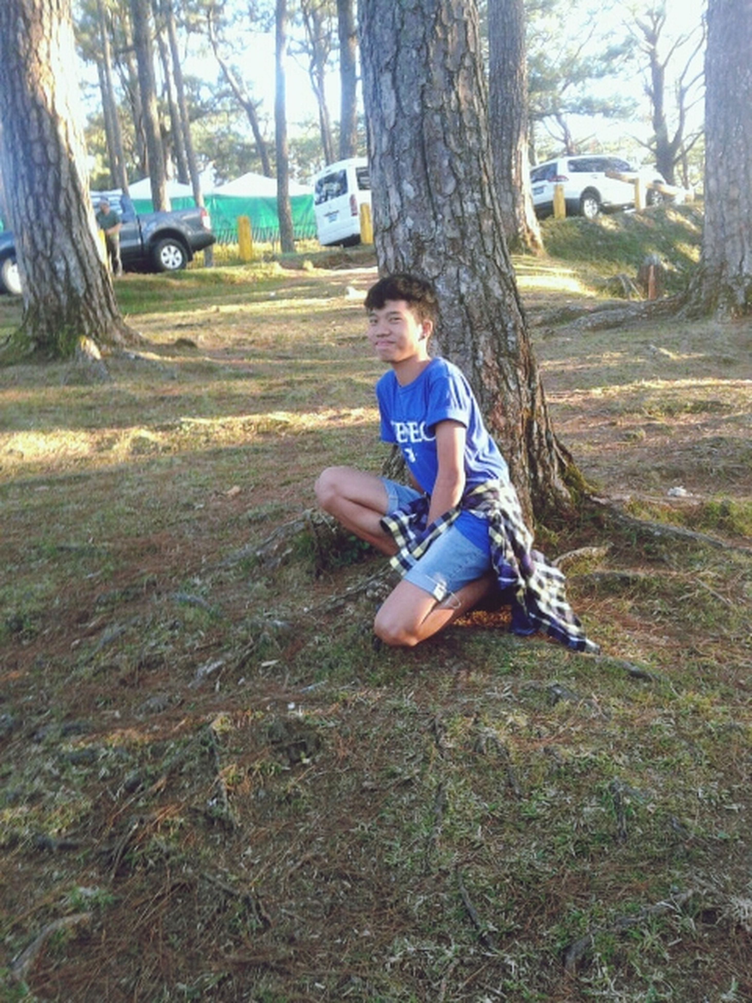 childhood, tree, leisure activity, full length, lifestyles, tree trunk, elementary age, park - man made space, person, boys, casual clothing, girls, grass, innocence, playful, park, sitting, playing