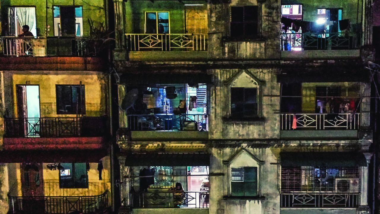 Night Balcony Southeast Asia City Cityscape Apartments Yangon Street Scene Burma ASIA မြန်မာ ရန်ကုန် Battle Of The Cities The City Light