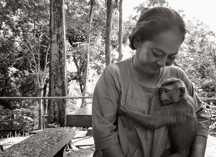 Hug Monkey Little Boy Family Black & White Life Cute Cute Monkey Little Monkey Love Warmly People Mom