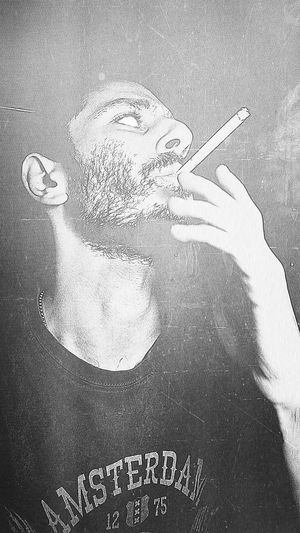 Black And White Evil Face Smoking