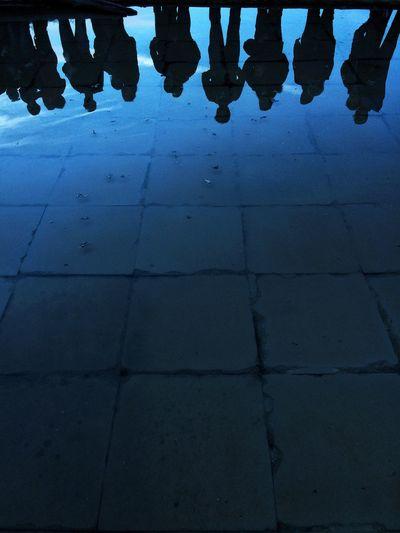 Low Section Tiled Floor Standing Human Leg Outdoors Illuminated Salt Water Pool Saltmine  Group Of People Sky Blue Water Reflections Water Reflection Silhouette People People Watching Vilanova De La Sal
