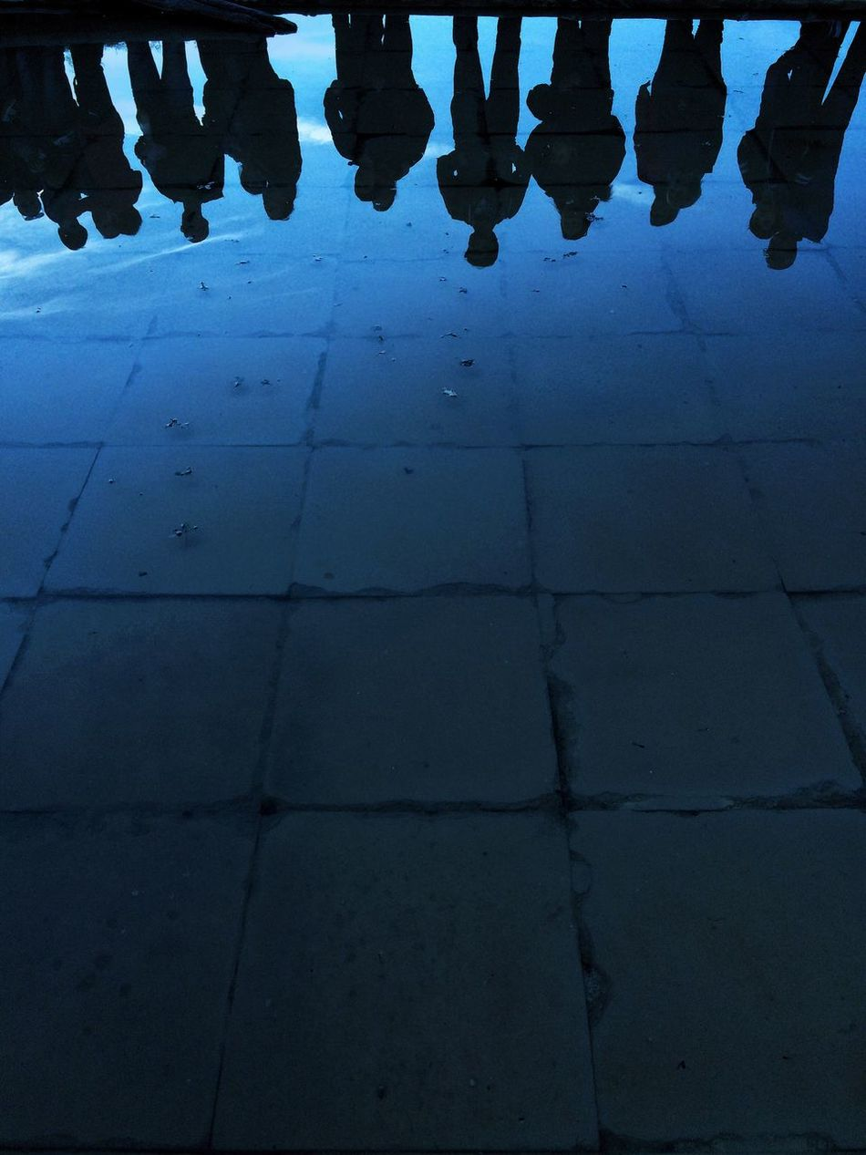 Low Section Tiled Floor Standing Human Leg Outdoors Illuminated Salt Water Pool Saltmine  Group Of People Sky Blue Water Reflections Water Reflection Silhouette People People Watching Vilanova De La Sal